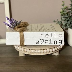 Farmhouse Stamped Books Hello Spring
